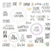 Ensemble de citations de Noël illustration de vecteur