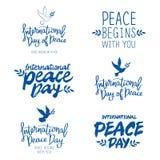 Ensemble de citations pour le jour international de la paix Photos libres de droits