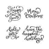 Ensemble de citations tirées par la main de vecteur An neuf heureux Joyeux Noël illustration de vecteur