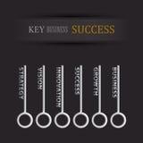 Ensemble de clé pour la réussite commerciale illustration de vecteur