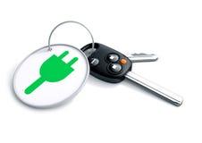 Ensemble de clés de voiture avec le porte-clés et l'icône de courant électrique Images stock