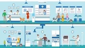 Ensemble de clinique de vétérinaire illustration stock