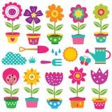 Ensemble de clipart (images graphiques) de pots de fleur et d'outils de jardinage Photo libre de droits