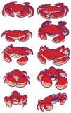 Ensemble de clipart (images graphiques) de vecteur de crabes de bande dessinée Photos libres de droits