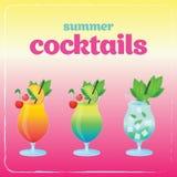 Ensemble de cocktail d'alcool Illustration de vacances d'été avec des cocktails Photo stock