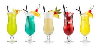 Ensemble de cocktails alcooliques d'isolement sur le blanc images libres de droits