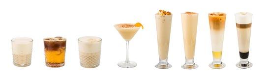 Ensemble de cocktails basés sur café classiques d'alcool mous et longs-drin images stock