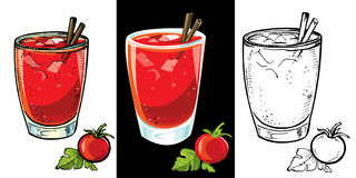 Ensemble de cocktails de bloody mary, boisson à faible teneur en alcool Image libre de droits