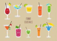 Ensemble de cocktails drôles Boissons colorées dans différents verres avec la paille Illustration de vecteur dans le style de ban Photographie stock