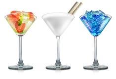 Ensemble de cocktails du Curaçao de lait, de mojito et de bleu images libres de droits