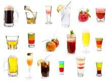 Ensemble de cocktails et de boissons alcoolisées Image libre de droits