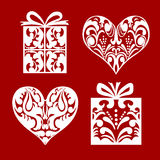 Ensemble de coeur et de boîte-cadeau de symbole avec le ruban Photo stock