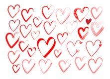 Ensemble de coeurs avec une brosse, dessinant à la main Icônes grunges de style de vecteur Symbole d'amour avec la peinture sèche illustration stock