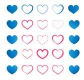Ensemble de coeurs bleus et rouges Image libre de droits