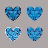 Ensemble de coeurs bleus de vecteur sous forme d'un diamant Images stock