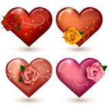 Ensemble de coeurs brillants avec des roses Photo stock