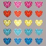 Ensemble de coeurs colorés de vecteur sous forme de diamant Images stock