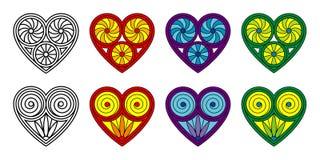 Ensemble de coeurs décoratifs de vecteur Images libres de droits