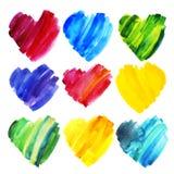 Ensemble de coeurs d'aquarelle de différentes couleurs Photographie stock libre de droits