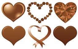Ensemble de coeurs de chocolat Photographie stock libre de droits