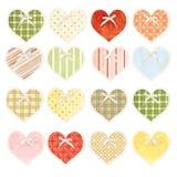 Ensemble de coeurs de valentine avec la texture de papier dans le style chic minable Images libres de droits