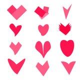 Ensemble de coeurs roses sur l'illustration blanche de vecteur de fond Photo stock
