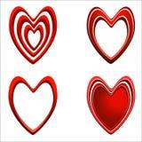 Ensemble de coeurs rouges Photos stock