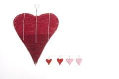 Coeurs d'amour de tissu Photographie stock