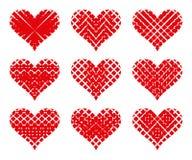 Ensemble de coeurs rouges de vecteur Illustration de vecteur Image stock