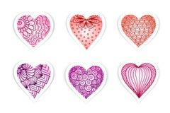 Ensemble de coeurs tirés avec des fleurs et des plantes pour le jour du ` s de Valentine, mariages, jour du ` s de mère Images stock