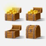 Ensemble de coffre en bois pour l'interface de jeu Image libre de droits