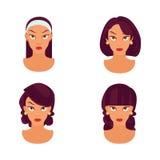 Ensemble de coiffure modèle de femmes - illustration Illustration Stock