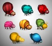 Ensemble de coléoptères multicolores illustration stock