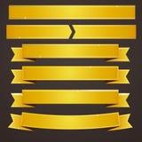 Ensemble de collection de bannières de rubans d'or Image libre de droits