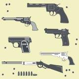 Ensemble de collection d'armes à feu de balle Images libres de droits