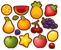 Ensemble de collection d'icônes brillantes colorées de fruit de bande dessinée, orange, W Photos stock