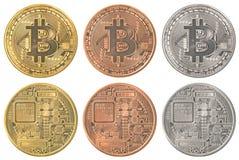 Ensemble de collection de Bitcoins Images libres de droits