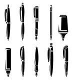 Ensemble de collection de marqueurs de stylo et de crayon. Vecteur Photo stock