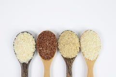 Ensemble de collection de riz sur la poche d'isolement sur le fond blanc Photos stock