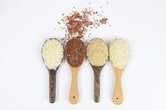 Ensemble de collection de riz sur la poche d'isolement sur le fond blanc photo libre de droits