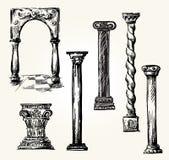 Ensemble de colonnes de griffonnage. Images stock