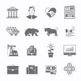 Ensemble de commerce de bourse des valeurs d'icônes Photographie stock libre de droits