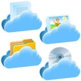 Ensemble de communication de document ouvert de nuage Photos stock