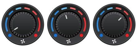 Ensemble de commutateur de bouton de tableau de bord de voiture Climatiseur automatique Sélecteurs de température illustration stock