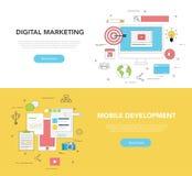 Ensemble de concept de construction de deux bannières de Web pour le marketing de Digital et le développement mobile illustration de vecteur