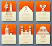 Ensemble de concept d'illustration d'ornement de pays du Mexique Art traditionnel, affiche, livre, affiche, résumé, motifs de tab Photos stock