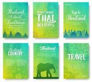 Ensemble de concept d'illustration d'ornement de pays de la Thaïlande Art traditionnel, affiche, livre, résumé, motifs de taboure illustration de vecteur