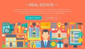 Ensemble de concept de construction d'immobiliers avec le marché de location d'appartement en ligne de recherche achetant la conc illustration libre de droits