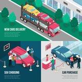 Ensemble de concept de construction de crédit-bail de concessionnaire automobile Photos stock