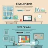 Ensemble de concept de construction plat pour le développement de Web Images libres de droits